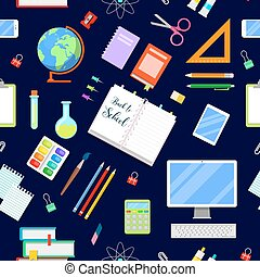 Back to School Seamless Background with Education Icons. Vector illustration