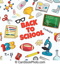 Back to school seamless background with school supplies icon