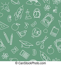 Back to school seamless pattern. Lines on green background