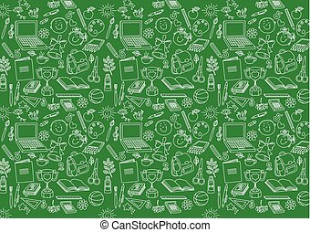 Back to school seamless pattern on green background