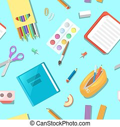 Back to School Seamless Pattern with Education Elements. Vector background