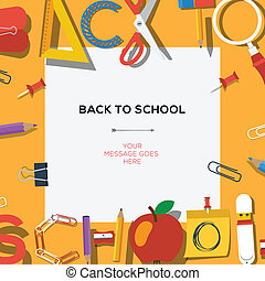 Back to school season sale template with school's supplies