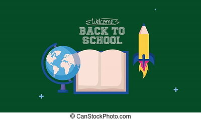 back to school season with book and set icons
