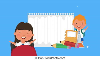 back to school season with kids and supplies