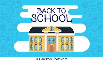 back to school season with school building ,4k video ...