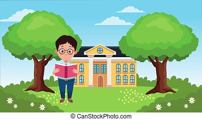 back to school season with school building and little boy ,...