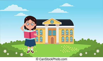 back to school season with school building and little girl ,...