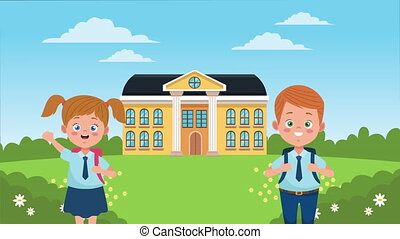 back to school season with school building and little ...