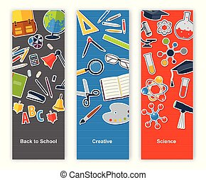 Back to school set of banners. Concept education, creative, science
