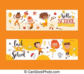 Back to school set of banners. Kids, children with education equipment vector illustration. School supplies, colorful office accessories. Pen, pencil, paints, stationary, bell and lamp.