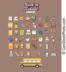 back to school set of flat icon