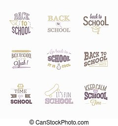 Back to school. Set of logos.