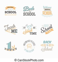 Back to school. Set of simple logo.
