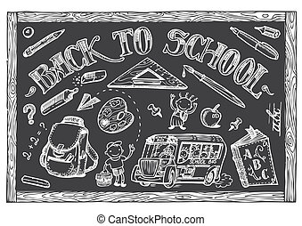 Back to School set of vector doodle