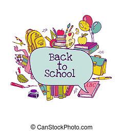 Back to School Set - school supplies, hand-drawn doodles in vector