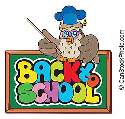 Back to school sign with owl lector