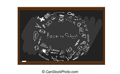 Back to school sketch illustration. Freehand drawing doodles. Hand drawn school sign on blackboard. Vector illustration