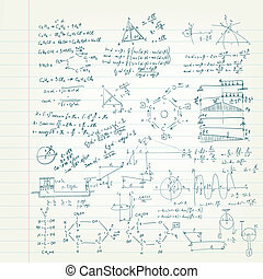 Sketch of science on the Copybook Sheet. Vector EPS 10.