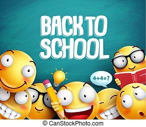Back to school smileys vector design. Yellow student emoticons
