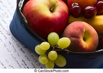 Back to school. Snack-bag closeup - Snack-bag full of fresh ...