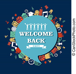 Education global icons set around social media speech bubble Welcome back text Back to School illustration. Vector file layered for easy personalization.