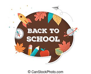 Back to school, speech bubble with many education icons, elements. Vector concept design