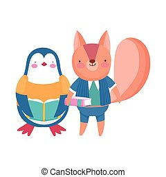 back to school, squirrel penguin with books cartoon