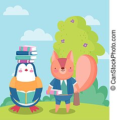 back to school, squirrel penguin with books on head outdoor