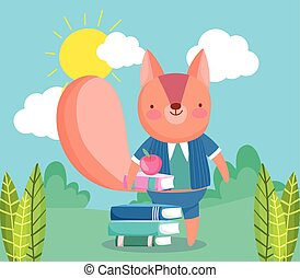 back to school, squirrel with books apple cartoon outdoor