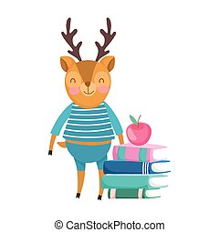 back to school, squirrel with books apple cartoon