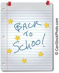 BACK TO SCHOOL stars on ruled notebook paper, red tacks and A+ grade for education supplies.