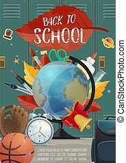 Back to School stationery and locker vector poster