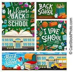 Back to school stationery and rucksack, blackboard