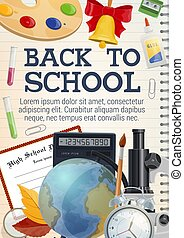 Back to school stationery on copybook poster