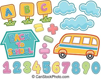 Back To School Sticker Elements
