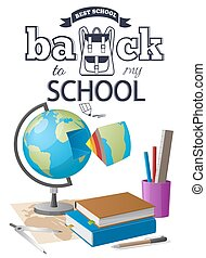 Back to School Sticker with Black-and White Text