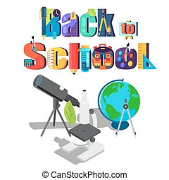 Back to School Sticker with Scientific Objects - Back to...