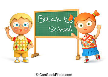 Back to School - Cute girl and boy standing at school board....
