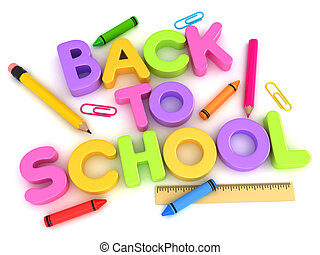 Back to School - 3D Illustration of Letters Forming the...