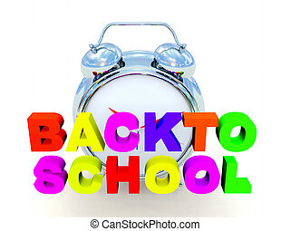 back to school - the word back to school in colored 3d...