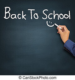 Back To School - Hand writing Back To School on blackboard