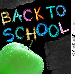 Back to school - Apple and back to school text over white...