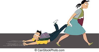 Back to school struggle - Mother dragging an anxious kid to ...