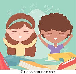 back to school, student boy and girl with books education cartoon