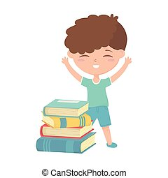 back to school, student boy with stack of books education cartoon