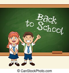 back to school student smiling happy with uniform chalkboard