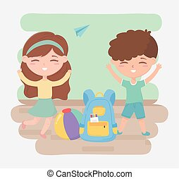back to school, students boy girl with backpack and ball education cartoon