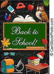 Back to school study supplies, owl on chalkboard