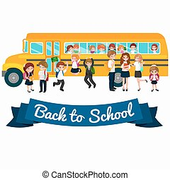Back to School summer sale background. Boy and girl at the blackboard, education concept banner