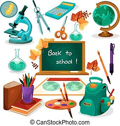 Back to school. Supplies and stationery